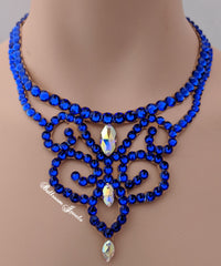 Ballroom Crystal Swirl Necklace - Meridian blue