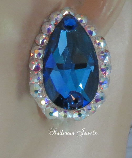 Swarovski Meridian Blue Pear Ballroom Earrings