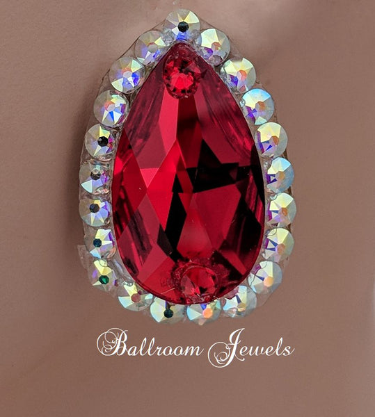 Swarovski large pear crystal ballroom earrings -  Light Siam Red