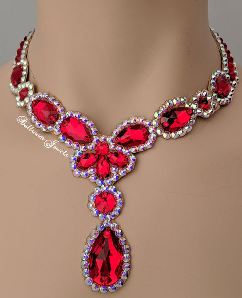 Ballroom Necklace Swarovski Pears and drop in Rainbow Light Siam Red