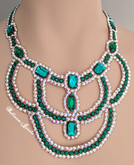 Ballroom Swarovski Crystal Emerald Necklace