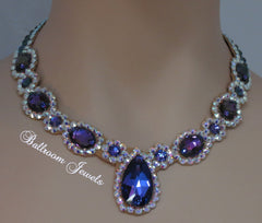 Ballroom Royal Design purple Heliotrope necklace - Swarovski Necklace - Ballroom Jewels