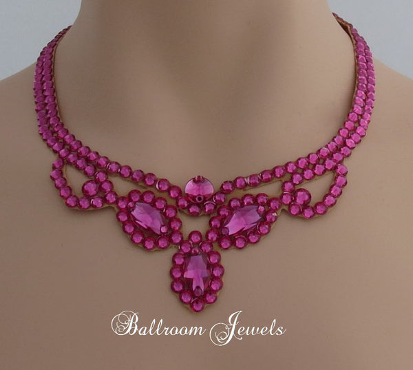 Three Navette Ballroom Necklace Swarovski Crystal in Fuchsia