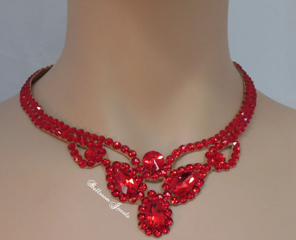 Three Pear Ballroom Necklace Swarovski Crystal in Light Siam