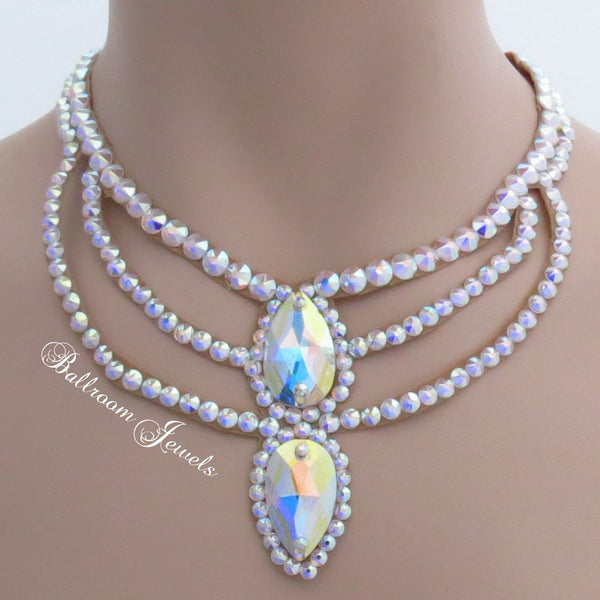 Ballroom Necklace Swarovski Crystal Double Pear