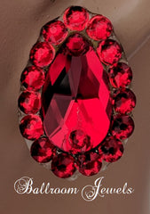 Swarovski pear crystal ballroom earrings -  light siam red