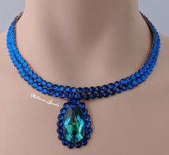 Ballroom Necklace Swarovski Crystal Simple pear in blue
