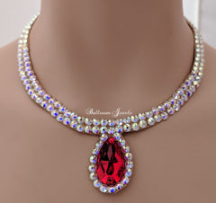 Ballroom Necklace Swarovski Crystal Simple pear in  Light Siam Red