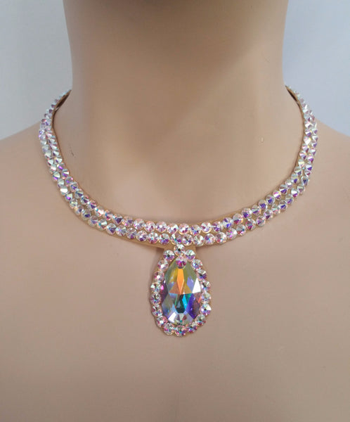 Ballroom Necklace Swarovski Crystal Simple pear