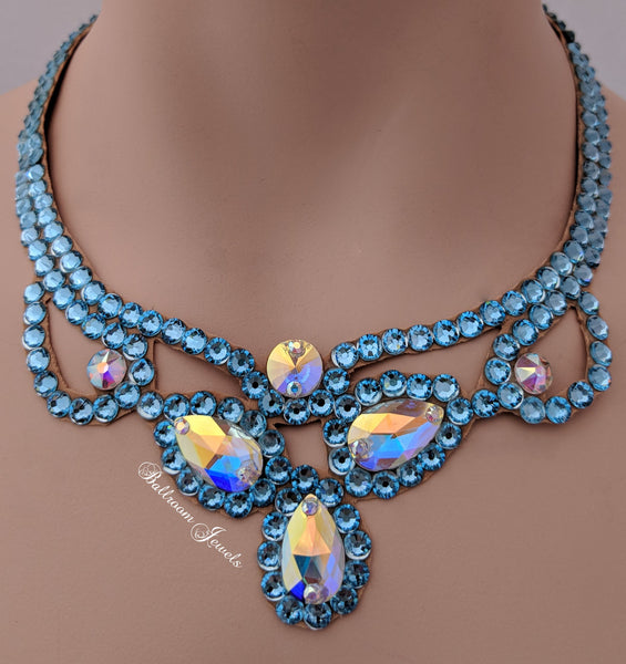 Three Pear Ballroom Necklace Swarovski Crystal in Aquamarine