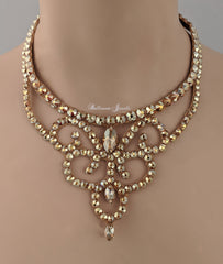 Ballroom Crystal Swirl Necklace - Gold