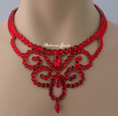 Ballroom Crystal Swirl Necklace - Red
