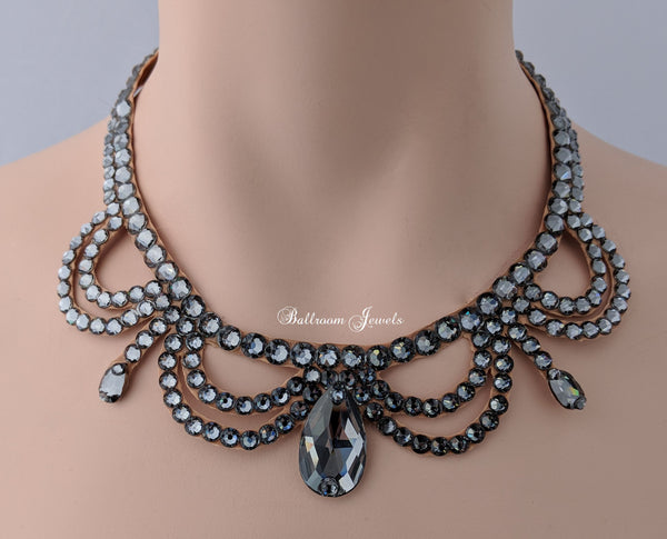 Ballroom Swarovski Crystal Victorian Necklace - Black