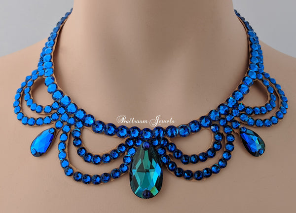 Ballroom Swarovski Crystal Victorian Necklace - Blue