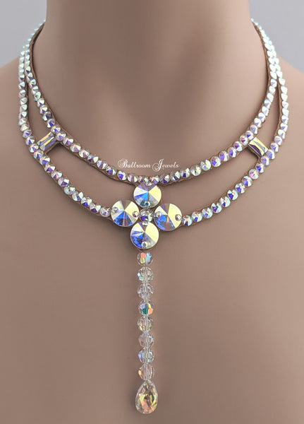 Ballroom necklace Swarovski Crystal Bead Drop