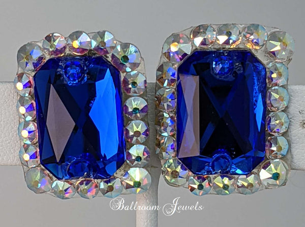Ballroom Swarovski emerald shaped Crystal Earrings in Majestic blue