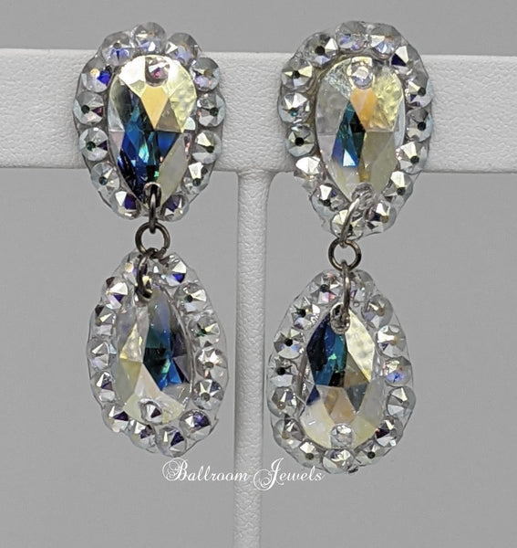 Ballroom Swarovski crystal two pear dangle earrings