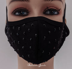 Black with jet crystals face covering
