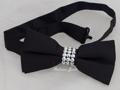 Black and AB Crystal Bow Tie