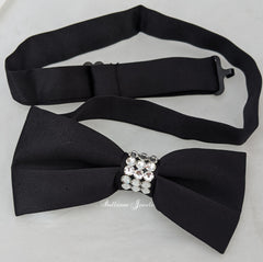 Black and crystal Bow Tie