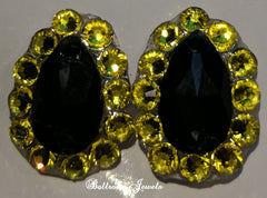 Custom Swarovski Crystal Ballroom Citrine Yellow and Jet black earrings