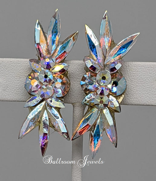 Crystal Ballroom Earrings Top and Bottom Spray