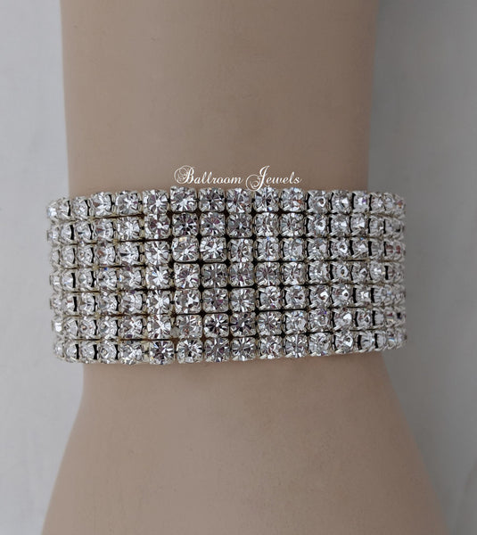 Clear Crystal 7 row stretch bracelet