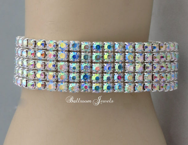 Crystal AB 5 row stretch bracelet