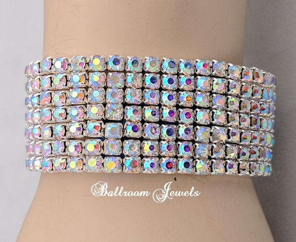 Crystal AB 7 row stretch bracelet
