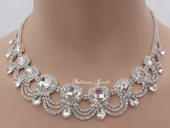 Crystal Bib and Loop Necklace set