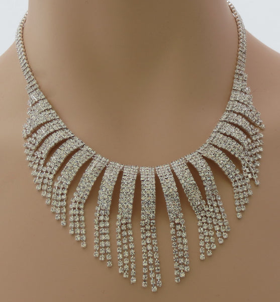 Crystal Fringe Necklace set