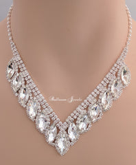 Crystal Marquise necklace set