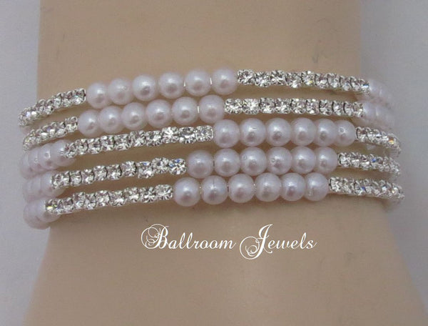 Crystal and pearl wrap bracelet
