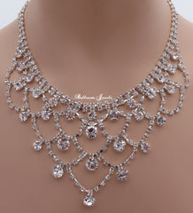 Crystal round and loop necklace set