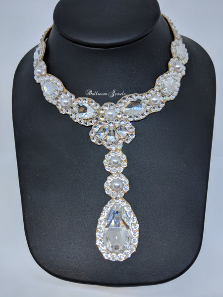 Custom Ballroom Necklace Swarovski Clear and pearl