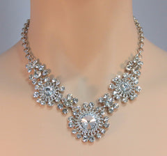 Flower crystal necklace set - econo - Ballroom Jewels - 1