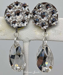 Flower and pear dangle Swarovski clear crystal earrings