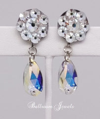 Flower and pear dangle Swarovski Crystal earrings