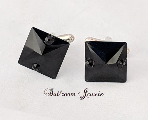 Men's Jet Crystal cuff links