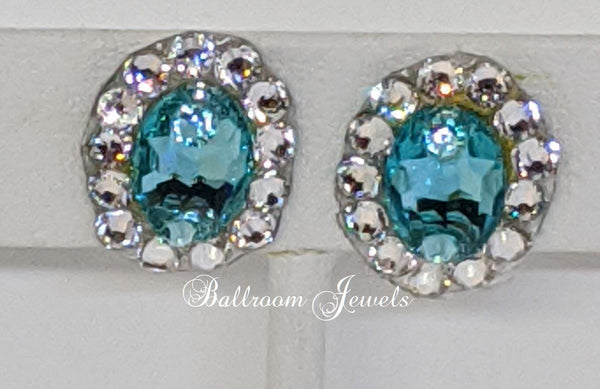 Swarovski Crystal Ballroom Light Turquoise oval earrings