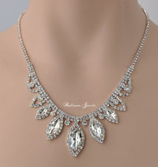 Crystal Navette Necklace set