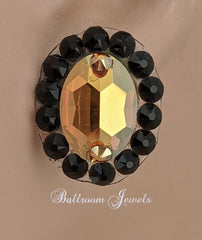 Crystal Oval Ballroom earrings - Gold and black