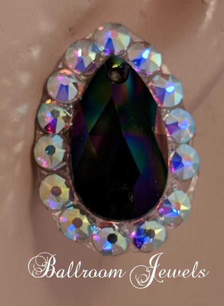 Swarovski rainbow black pear crystal ballroom earrings