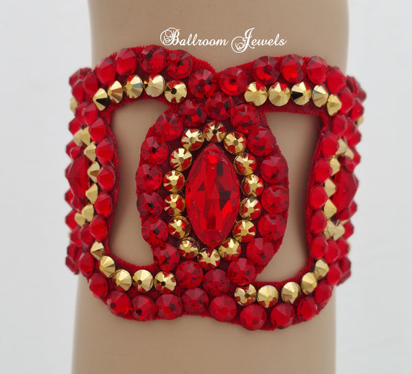Ballroom Bracelet Swarovski Crystal Navette shapes- gold and red
