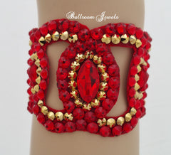 Ballroom Bracelet Swarovski Crystal Navette shapes- gold and red - Sponsor Jewelry - Ballroom Jewels