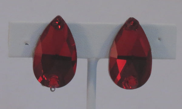 Red Crystal pear shaped earrings