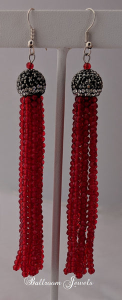 Ballroom Red bead Tassel drop earrings