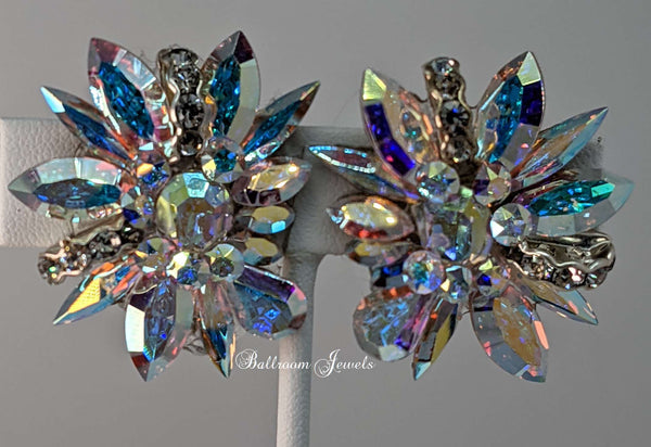 Swarovski Ballroom Multi Crystal spray earrings
