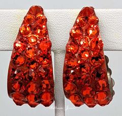 Swarovski Crystal large wide hoop earrings in Hyacinth orange