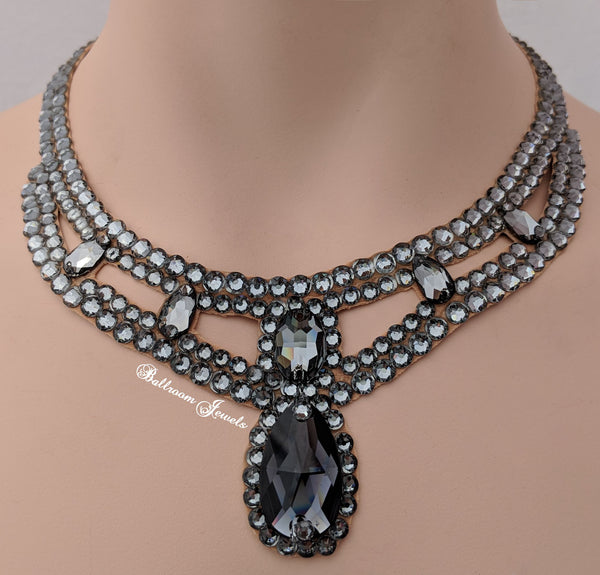 Pear Drop Swarovski Ballroom Necklace in black